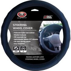 SCA Steering Wheel Cover - PU Racing, Black / Blue, 380mm diameter, , scanz_hi-res