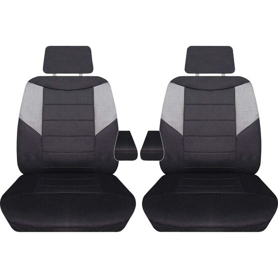 Carbon Mesh Seat Covers - Black and Grey, Adjustable Headrests, Size 107, Front Pair (with armrests), Airbag Compatible, , scanz_hi-res