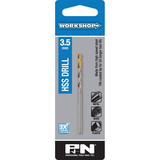 P&N Workshop Drill Bit HSS - Tin Tipped, 3.5mm, , scanz_hi-res