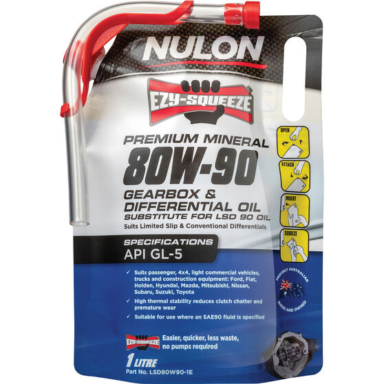 Nulon EZY-SQUEEZE Gearbox & Differential Oil 80W-90 1 Litre, , scanz_hi-res