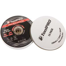 ToolPro Metal Cut Off Disc - 100mm x 1.2mm x 16mm, 10 Pack, , scanz_hi-res