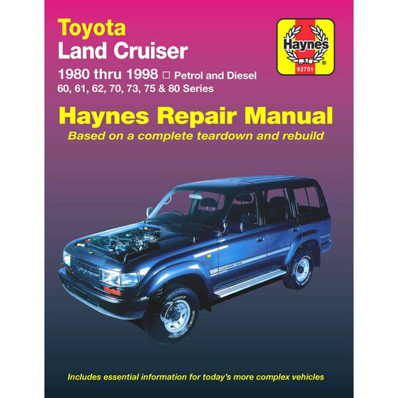 Haynes Car Manual For Toyota Landcruiser Petrol and Diesel 1980-1998 - 92751, , scanz_hi-res