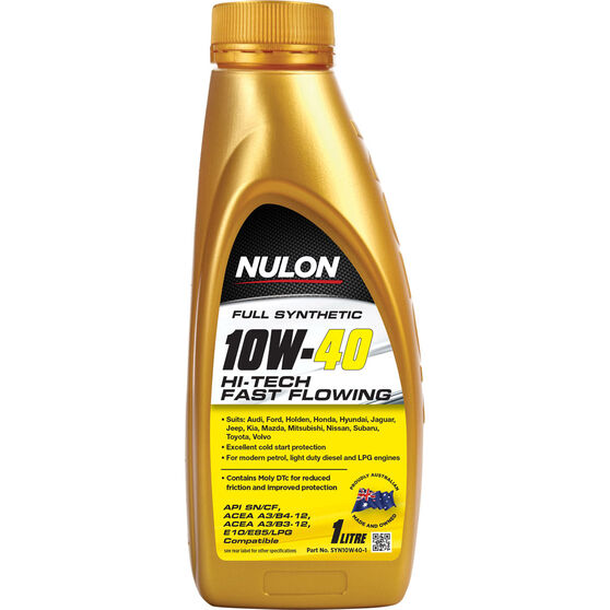 Nulon Hi-Tech Fast Flowing Synthetic Engine Oil - 10W-40 1 Litre, , scanz_hi-res