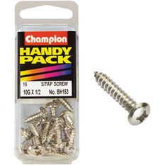 Champion Self Tapping Screws - 10G X 1 / 2inch, BH153, Handy Pack, , scanz_hi-res