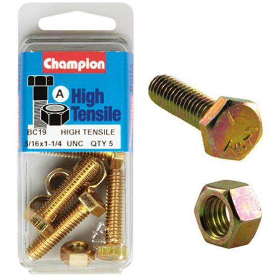 Champion High Tensile Bolts and Nuts - UNC 1-1 / 4inch X 5 / 16inch, , scanz_hi-res