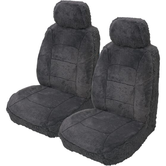 Silver Cloud Sheepskin Seat Covers - Adjustable Headrests, Size 30, Front Pair, Airbag Compatible Slate, Slate, scanz_hi-res