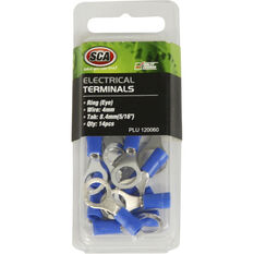 SCA Electrical Terminals - Ring (Eye), Blue, 8.4mm, 14 Pack, , scanz_hi-res