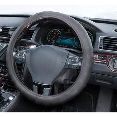 SCA Steering Wheel Cover - Leather Look, Black, 380mm diameter, , scanz_hi-res