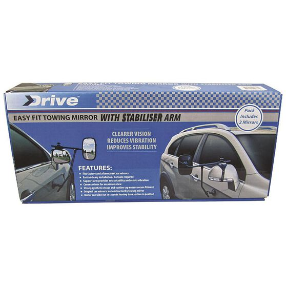 Drive Towing Mirror - With Stabiliser Arm, 2 Pack, , scanz_hi-res