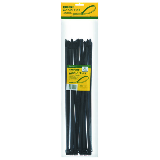 Tridon Cable Ties - 400mm x 8mm, 25 Pack, Black, , scanz_hi-res