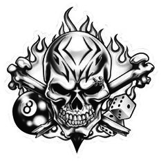 Hot Stuff Sticker - Skull 8 Ball, Vinyl, , scanz_hi-res