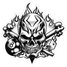 Hot Stuff Sticker - Skull 8 Ball, Vinyl, , scanz_hi-res