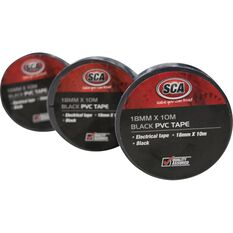 SCA PVC Electrical Tape - Black, 18mm x 10m, , scanz_hi-res