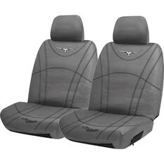 R.M. Williams Canvas Seat Cover - Charcoal, Adjustable Headrests, Size 30, , scanz_hi-res