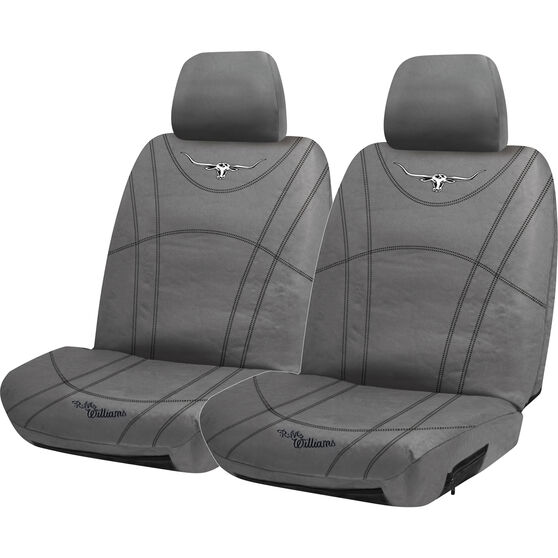 R.M. Williams Canvas Seat Cover - Charcoal Adjustable Headrests Size 30, , scanz_hi-res