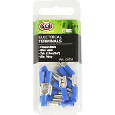 SCA Electrical Terminals - Female Blade, Blue, 6.3mm, 14 Pack, , scanz_hi-res