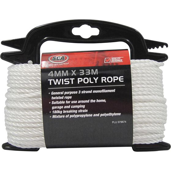 SCA 3 Strand Twist Poly Rope - 4mm X 33m, , scanz_hi-res