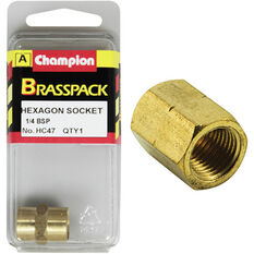 Champion Hex Socket - 1 / 4inch, Brass, , scanz_hi-res