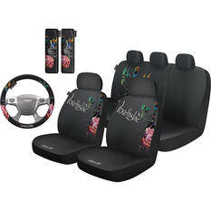 Love This Life Flora 6 Piece Seat Cover Pack - Black Adjustable Headrests Size 30 & 06H Front & Rear Pack Steering Wheel Cover Seat Belt Buddies Front, , scanz_hi-res