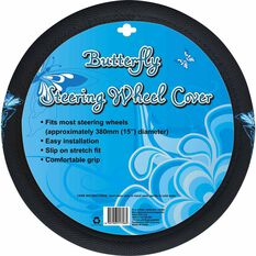 Butterfly Steering Wheel Cover - Mesh, Blue, 380mm diameter, , scanz_hi-res
