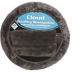 Steering Wheel Cover & Seat Belt Buddies - Sheepskin, Slate, 380mm diameter, , scanz_hi-res