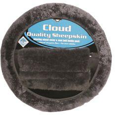 Cloud Steering Wheel Cover and Seat Belt Buddies - Sheepskin, Slate, 380mm diameter, , scanz_hi-res