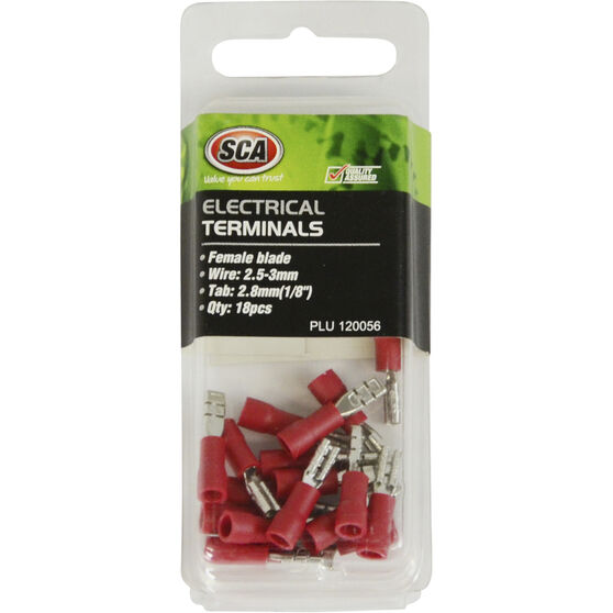 SCA Electrical Terminals - Female Blade, Red, 2.8mm, 18 Pack, , scanz_hi-res