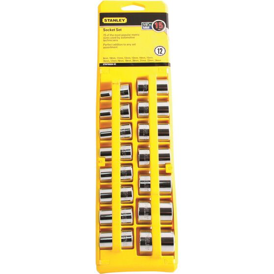 Stanley Socket Set - 1 / 2 inch Drive, Metric, 15 Piece, , scanz_hi-res