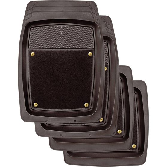 SCA Premium Combo Floor Mats - Removable Carpet, Black, Set of 4, , scanz_hi-res