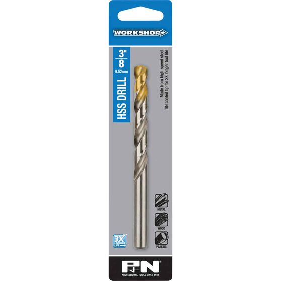 P&N Workshop Drill Bit HSS Tin Tipped 3/8 Inch, , scanz_hi-res
