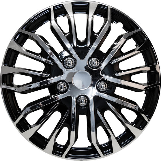 Street Series Wheel Covers - Plasma 14in, Black / Chrome, 4 Pack, , scanz_hi-res