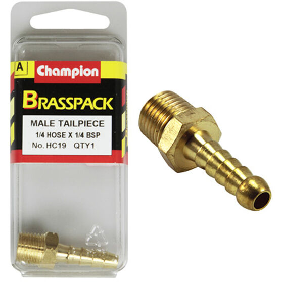 Champion Male Hose Barb - 1 / 4inch X 1 / 4inch, Brass, , scanz_hi-res