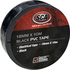 SCA PVC Electrical Tape 18mm x 10m Black, Black, scanz_hi-res
