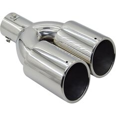 Street Series Stainless Steel Exhaust Tip - Twin Angle Cut Rolled Tip suits 40mm to 52mm, , scanz_hi-res