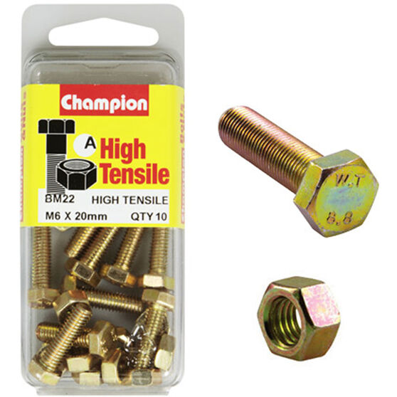 Champion High Tensile Bolts and Nuts - M6 X 60, , scanz_hi-res
