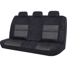 SCA Premium Jacquard and Velour Seat Covers - Black Adjustable Zips Rear Seat Size 06H, , scanz_hi-res