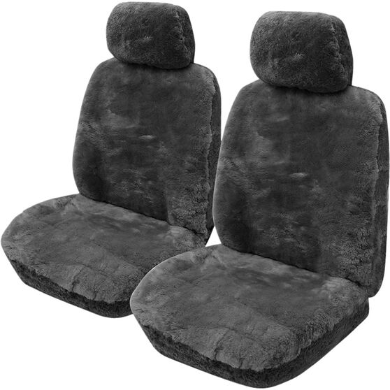 Gold Cloud Sheepskin Seat Covers - Adjustable Headrests, Size 30, Front Pair, Airbag Compatible Slate, Slate, scanz_hi-res