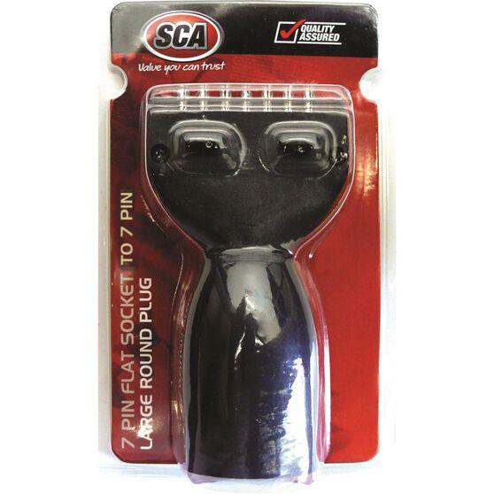 Trailer Adaptor - Stubbie, 7 Pin Flat Socket to 7 Pin Large Round Plug, , scanz_hi-res