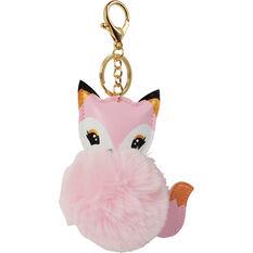 Pom Pom Keyring - Pink Fox, , scanz_hi-res