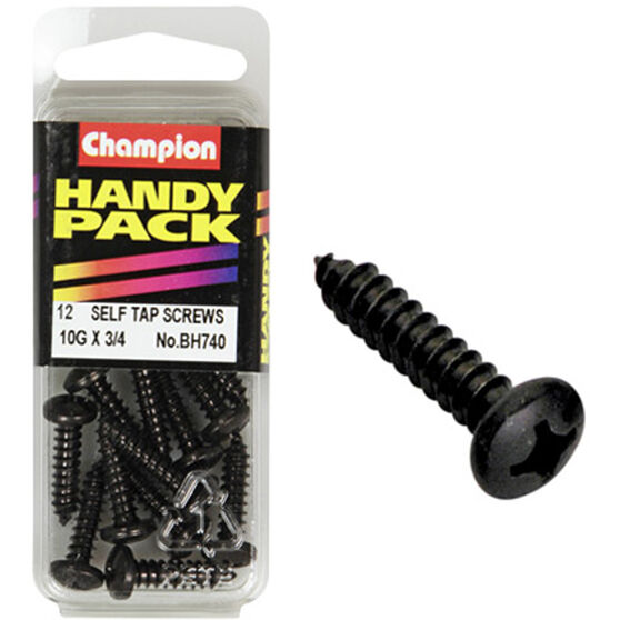 Champion Self Tapping Screws - 10G X 3 / 4inch, BH740, Handy Pack, , scanz_hi-res