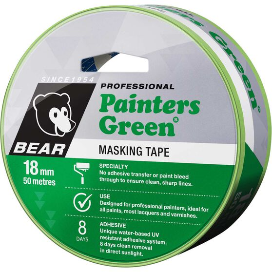 Norton Painters Masking Tape - Green, 18mm x 50m, , scanz_hi-res
