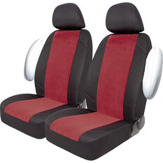 SCA Cord Seat Covers -Red/Black, Adjustable Headrests, Size 30, Front Pair, Air Bag Compatible, , scanz_hi-res