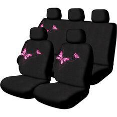 Butterfly Seat Cover Pack - Pink, Adjustable Headrests, Size 30 and 06H, Front and Rear, Airbag Compatible, , scanz_hi-res